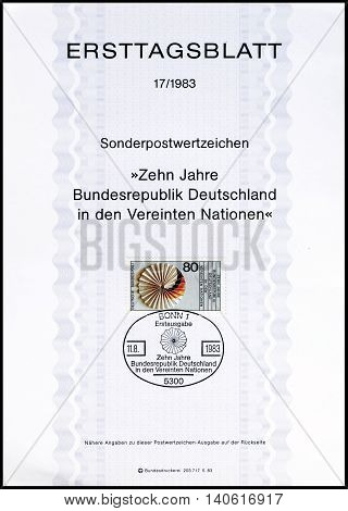 GERMANY - CIRCA 1983 : Cancelled First Day Sheet printed by Germany, that shows German flag.