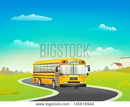 cartoon school bus on road. vector illustration