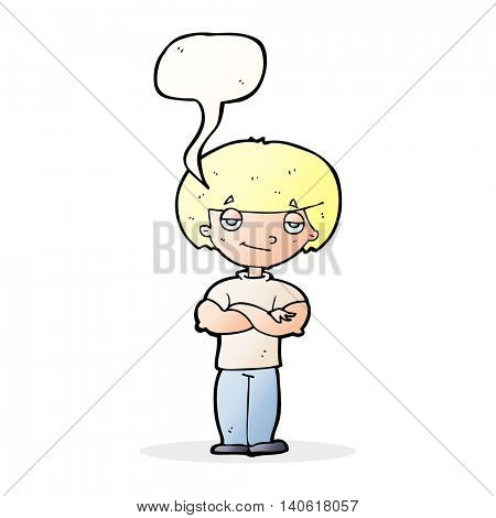 cartoon smug looking man with speech bubble