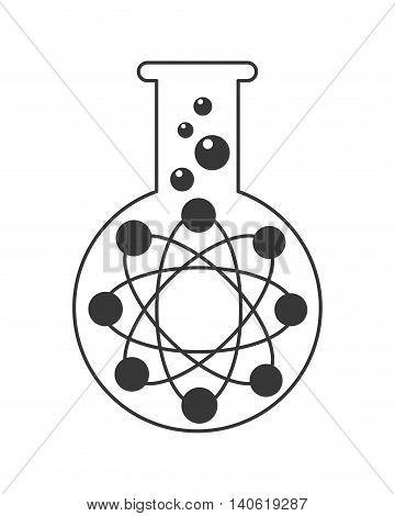 flat design test tube with atom icon vector illustration