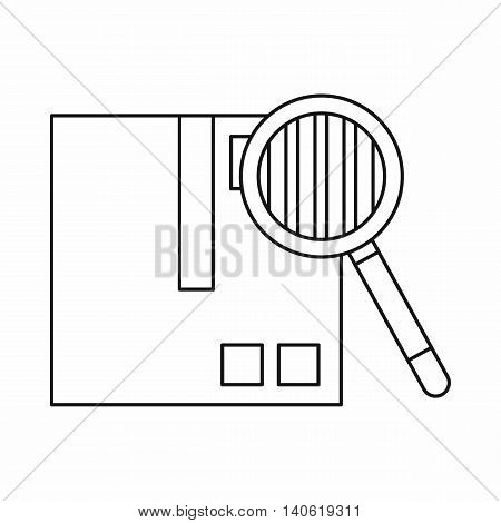 Inspection of cargo icon in outline style isolated on white background. Shipping symbol
