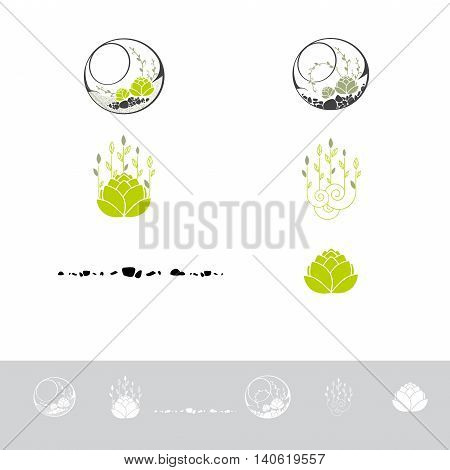 Green Terrarium With Plants and Stone Logo Design Collection
