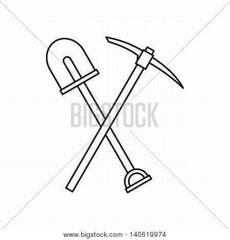 Shovel and pickaxe icon in outline style isolated on white background. Repair symbol
