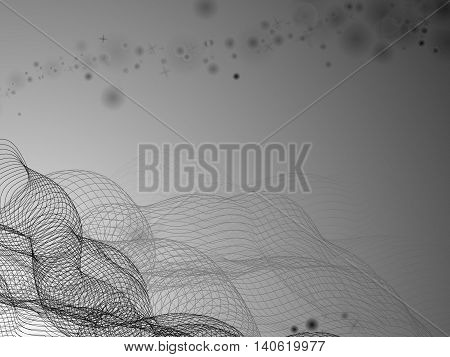 Black and white abstract background with intertwined lines in the lower left corner