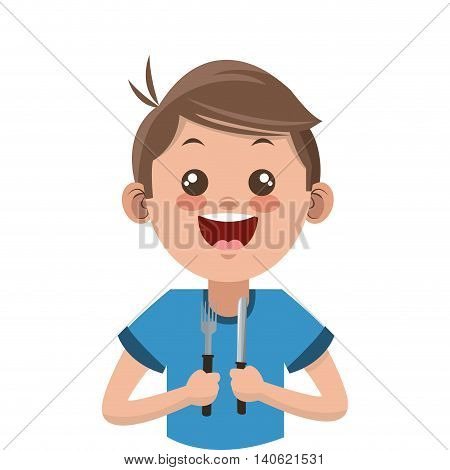 flat design happy boy cartoon holding fork and knife icon vector illustration