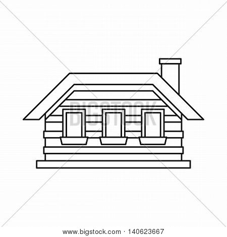 One-storey house with three windows icon in outline style isolated on white background. Construction symbol