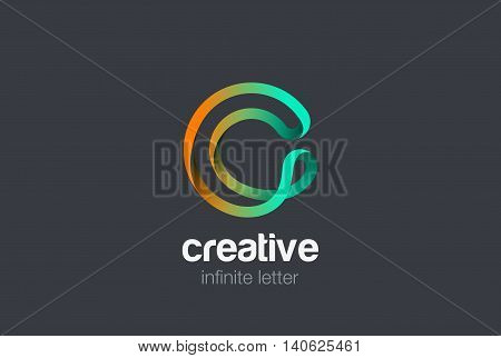 Letter C infinite ribbon Logo design vector template