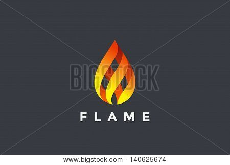 Fire Flame droplet Logo design vector Burning fireball icon