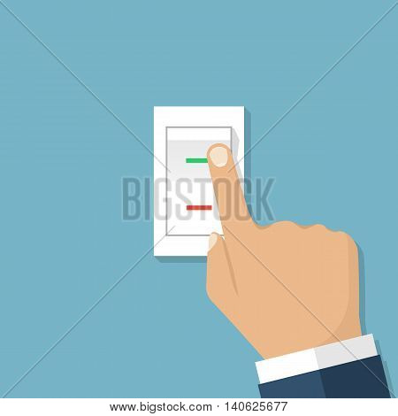 Man hand push button switch. Vector illustration flat design style. Electric control switch by pressing hand. White button with indicator lamps.