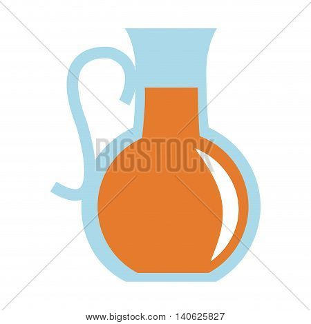 flat design glass pitcher with beverage icon vector illustration