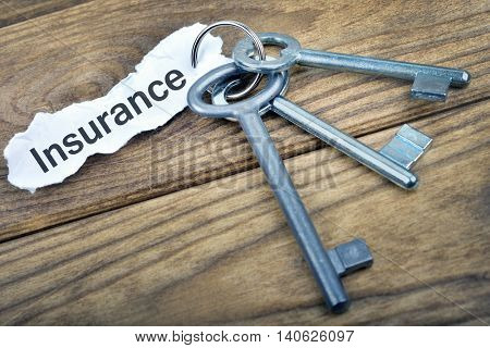 Key with message Insurance on wooden table