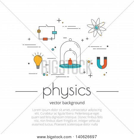 Flat line icon set of school subject - physics. Science and educational background. Modern trend design style vector concept. Isolated on white background