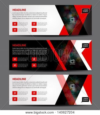 Black and red Banner Template vector horizontal banneradvertising display layout flyer design