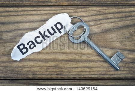 Key with message Backup on wooden table poster