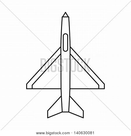 Military aircraft icon in outline style isolated on white background. Plane symbol