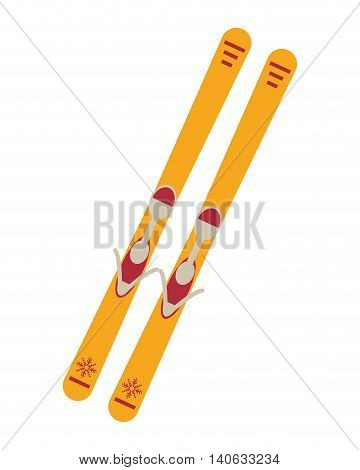 flat design pair of skis icon vector illustration
