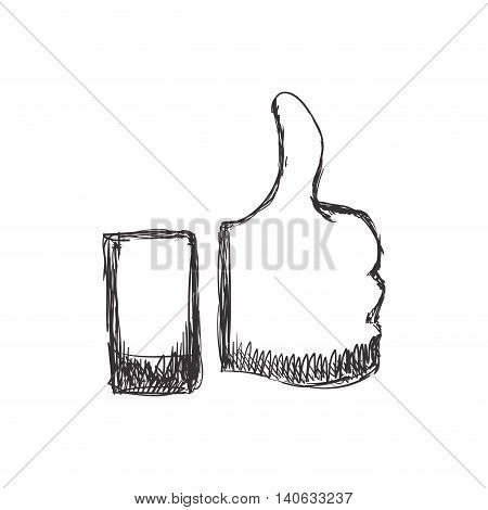 Postive concept represented by Thumbs up icon. Isolated and flat illustration