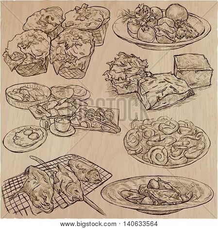 Food around the World. International Cuisine. Restaurant menu. Collection of hand drawn vector illustrations.Each drawing comprise a few layers of editable outlines. Foods are named inside the vector.