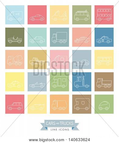 Cars, vans and other motor vehicles line icons in pastel colored squares