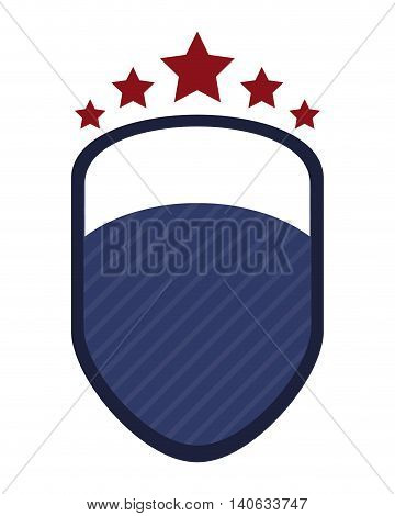 flat design shield emblem with stars icon vector illustration