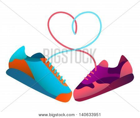 Men and female sneakers bound together. Vector illustration