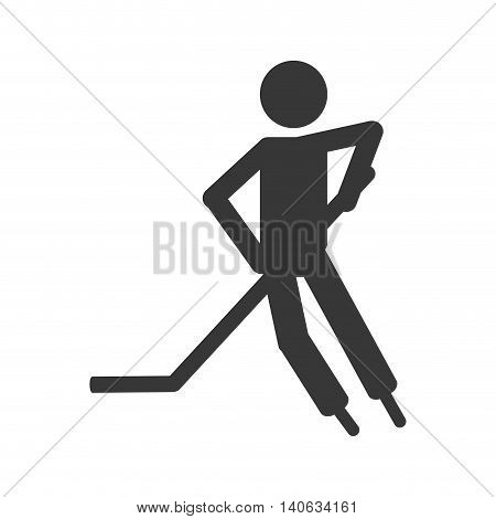 flat design hockey player icon vector illustration