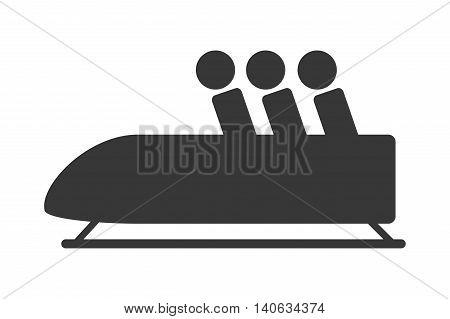 flat design bobsleigh sport icon vector illustration