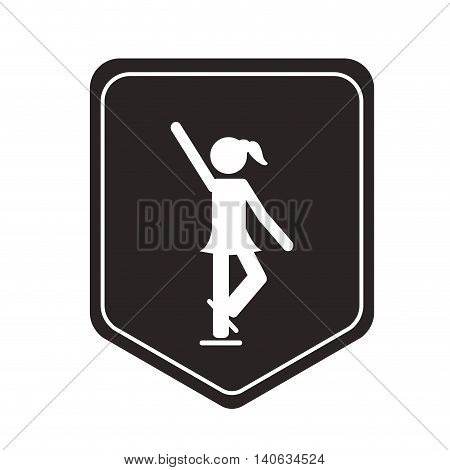 flat design ice skating pictogram icon vector illustration shield emblem