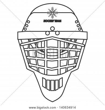 flat design hockey helmet icon vector illustration