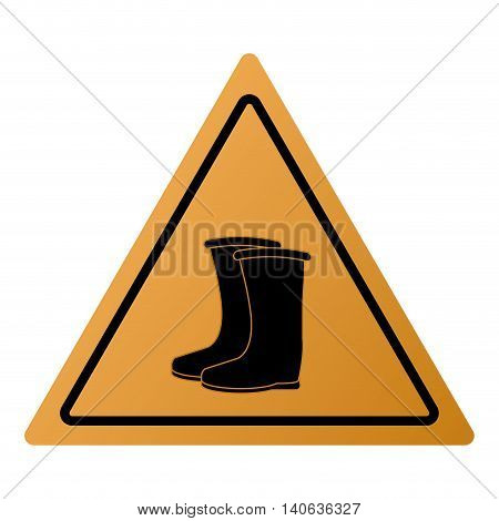 flat design industrial boots icon vector illustration sign