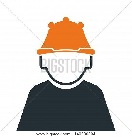 flat design industrial worker icon vector illustration