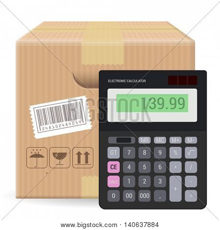 Brown closed carton parcel packaging box with fragile signs and bar code  isolated on white background with calculator. Vector icon template for calculation shipping, packaging and delivery  price.