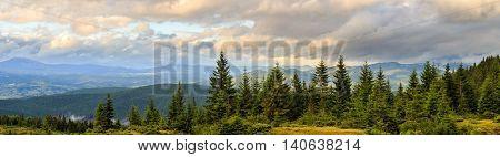 Panorama of Picturesque Carpathian mountains landscape. Chornogora ridge Ukraine Europe