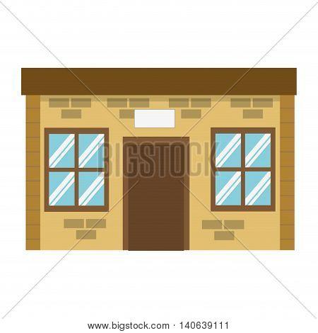 flat design single brick building icon vector illustration