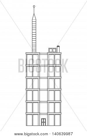 flat design single tall building icon vector illustration