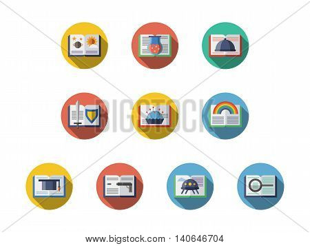 Samples of books with various literary genres. Literature, education and reading leisure. Symbols for library and book stores. Round flat color style vector icons collection.