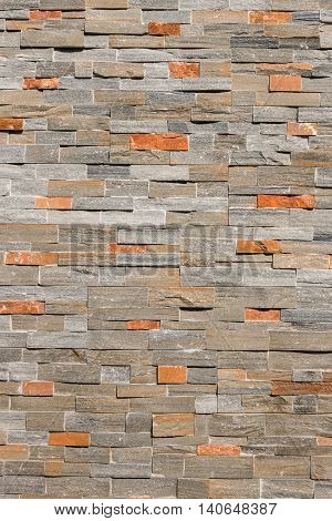 close up of natural stone veneer wall
