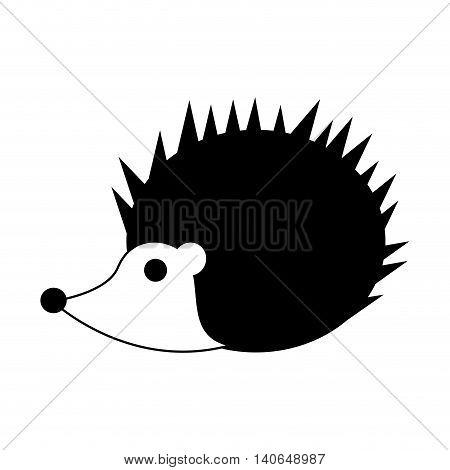 flat design cute porcupine cartoon icon vector illustration