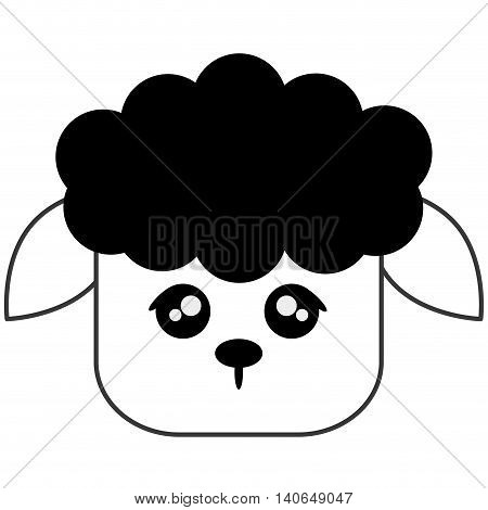 flat design cute sheep cartoon icon vector illustration