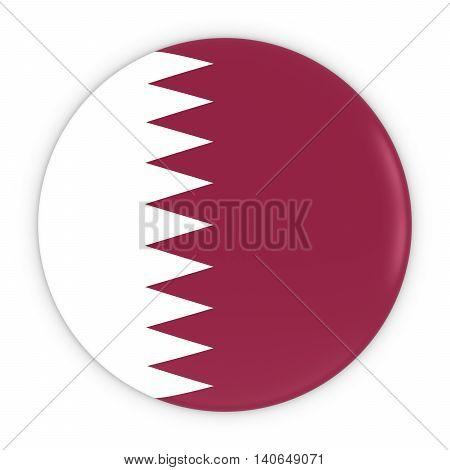 Qatari Flag Button - Flag Of Qatar Badge 3D Illustration