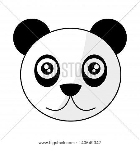 flat design cute panda cartoon icon vector illustration