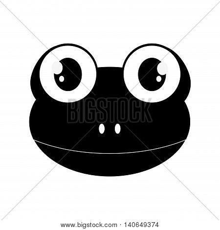 flat design cute frog cartoon icon vector illustration
