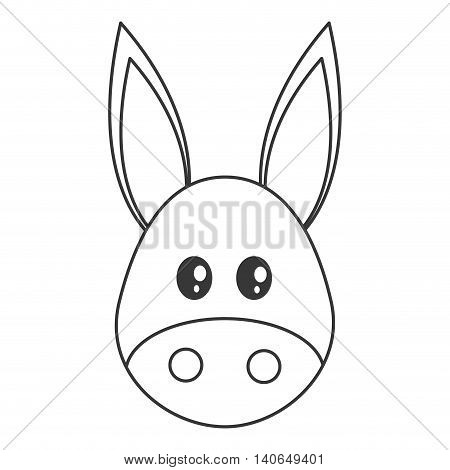 flat design cute donkey cartoon icon vector illustration