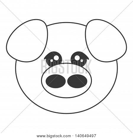 flat design cute pig cartoon icon vector illustration