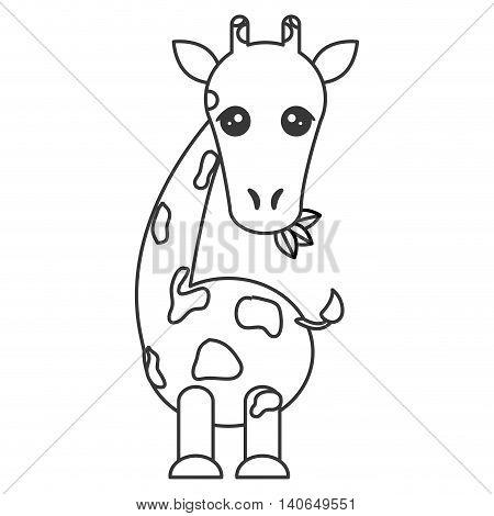 flat design Cute giraffe cartoon icon vector illustration