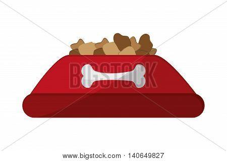 flat design dog food bowl icon vector illustration