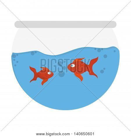 flat design tank with goldfish icon vector illustration
