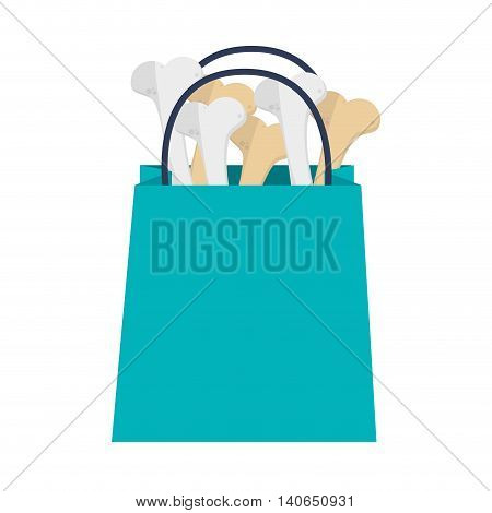 flat design shopping bag with bones icon vector illustration