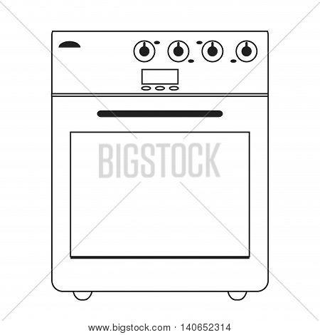 flat design stove oven icon vector illustration