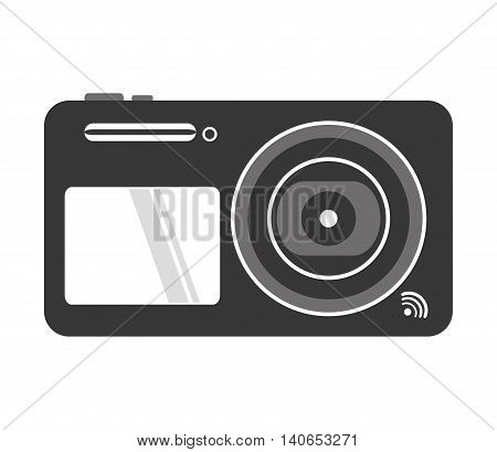 flat design digital photographic camera icon vector illustration